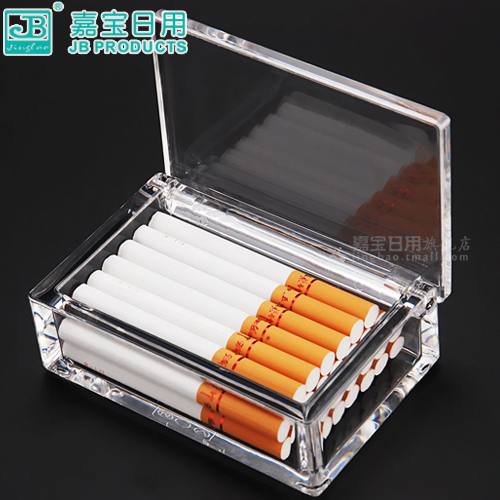 Garbo acrylic transparent plastic storage box imitation glass lid creative cigarette packs 20 mounted storage