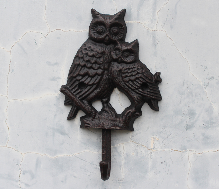 Ge jia rui erou vintage cast iron hooks decorative wall coat hooks coat hooks hook mother owl