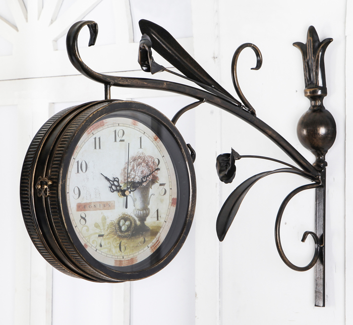 Ge jia rui seoul american vintage wrought iron bell mute european sided bell wall clock ikea living room wall clock craft clock