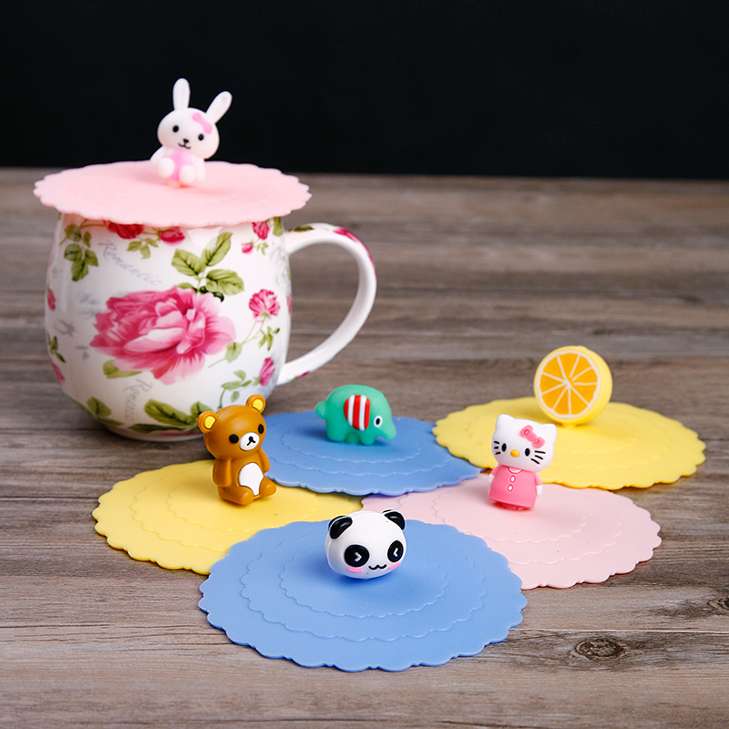 Get Quotations · Generic environmental toxic silicone lid lid lid cartoon dust leakproof lid seal cup lid creative