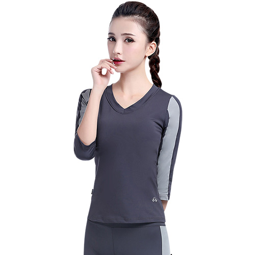 Genin new autumn and winter long sleeve coat was thin slim vest female yoga exercise treadmill aerobics shirt