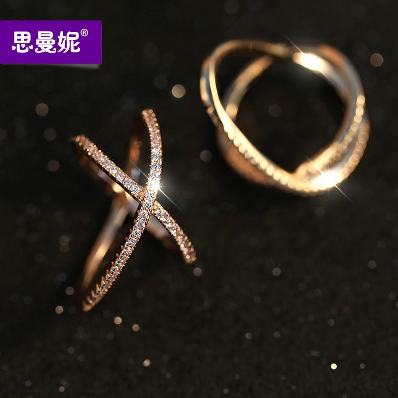 Genuine authentic japanese and korean version of si manni personality cross ring female luxury fashion gold plated platinum ring influx of people tricolor