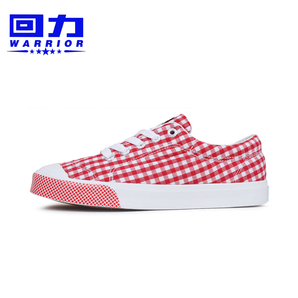 Genuine back shoes to help low cute new england plaid canvas shoes casual shoes red and blue two color options
