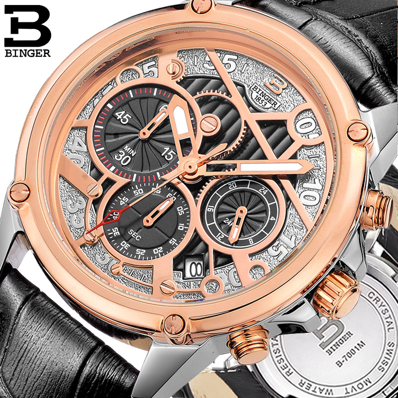 Genuine binger accusative steel watches men's quartz jordan chan when taking into account the three stopwatch gear belt rose gold abstract