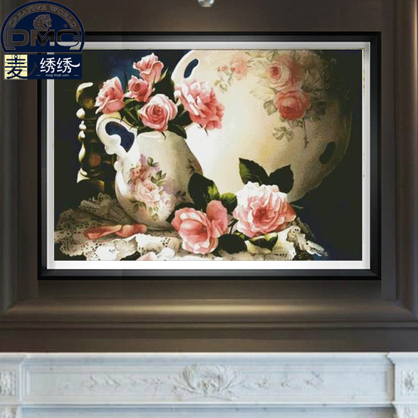 Genuine dmc cross stitch cross stitch substantial living room modern flower vase paintings i love cross stitch-pink memories