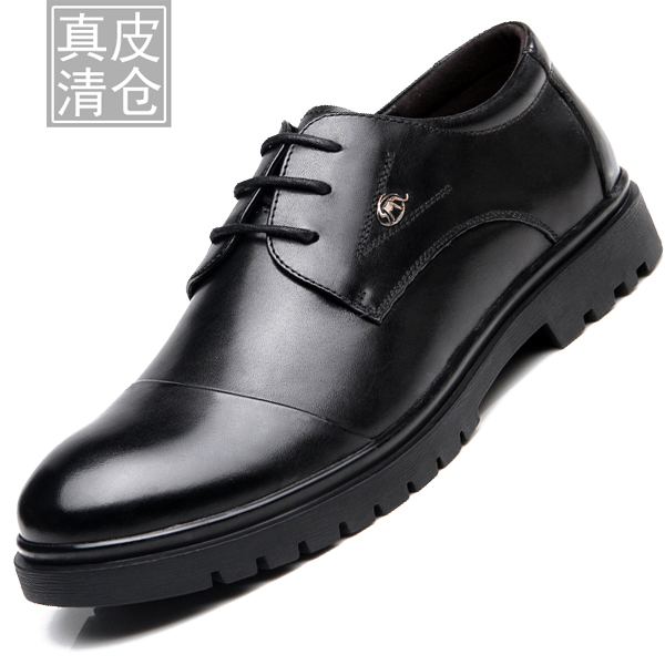 Genuine leather men's special clearance! men's business casual men's three joints shoes round lace shoes free shipping