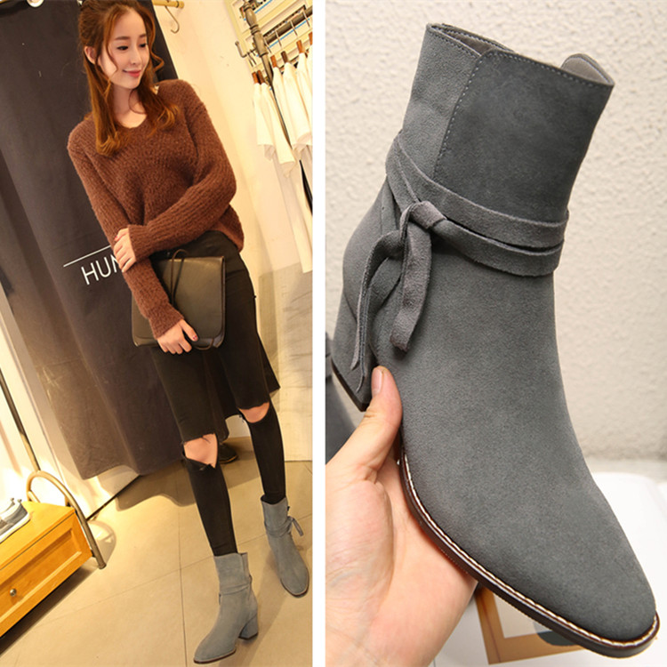 Genuine new autumn and winter di luode turn cow leather matte leather boots single boots female cotton solid color in the rough with square head tide