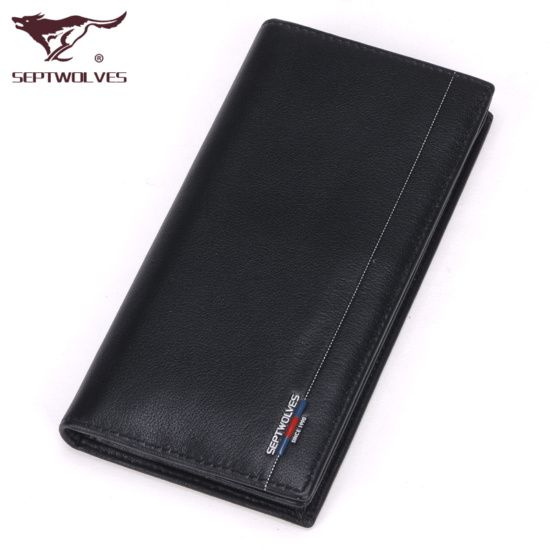 Genuine seven wolves men wallet leather wallet men wallet mens leather wallet purse with zipper korea