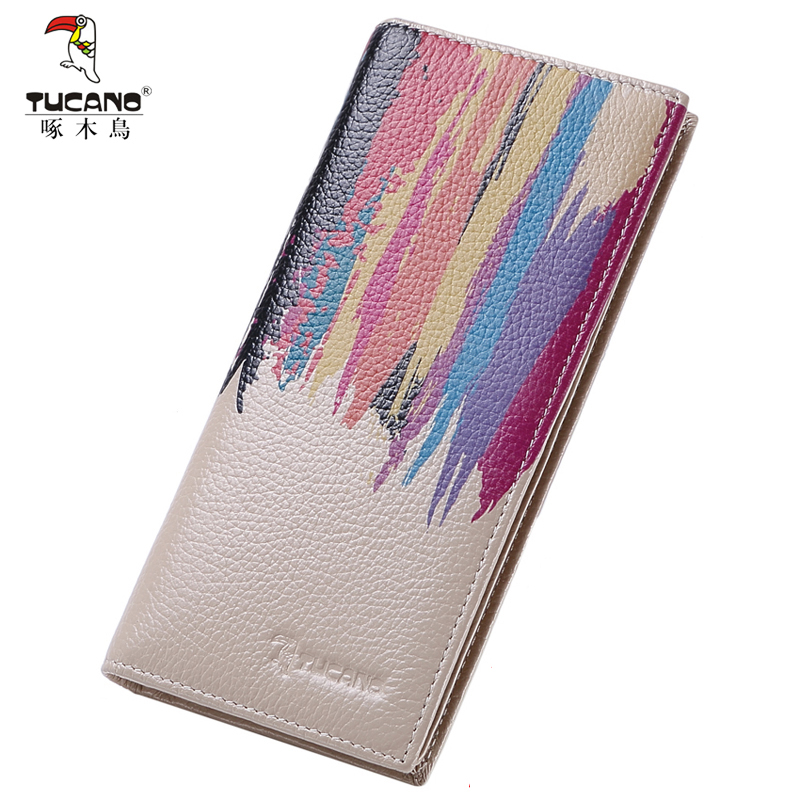 Genuine woodpecker 2016 new female wallet minimalist wallet card bit more leather wallet female long section of south korea thin section