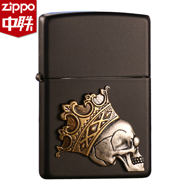 Genuine zippo lighter black matte paint new crown skull stickers chapter 29100 limited edition genuine windproof zp