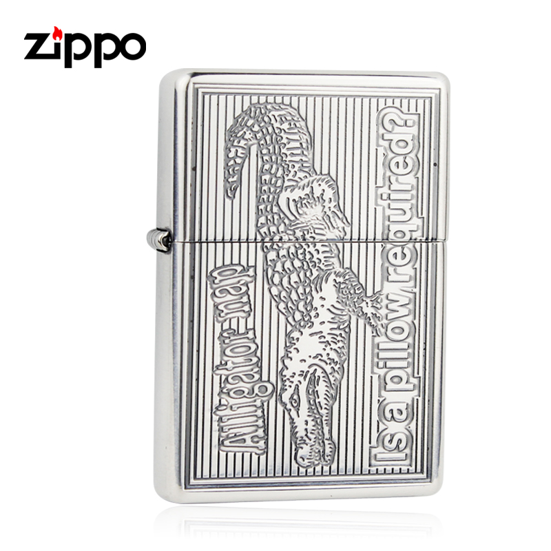 Genuine zippo lighters genuine original japanese version of the silver crocodile ML-AR sided carving lighter lettering