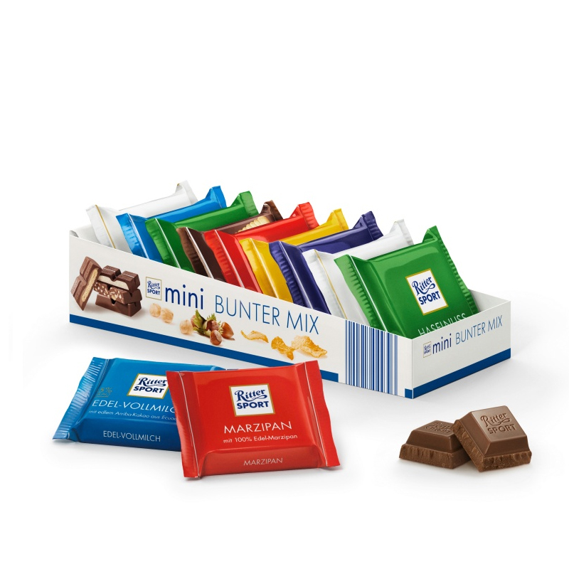 German imports ritter sport chocolate snack assorted colorful 7 flavor 150g