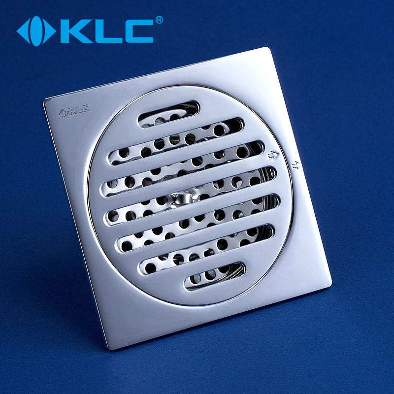 [German] klc copper square floor drain to drain all copper chrome floor drain odor floor drain kitchen bathroom floor drain