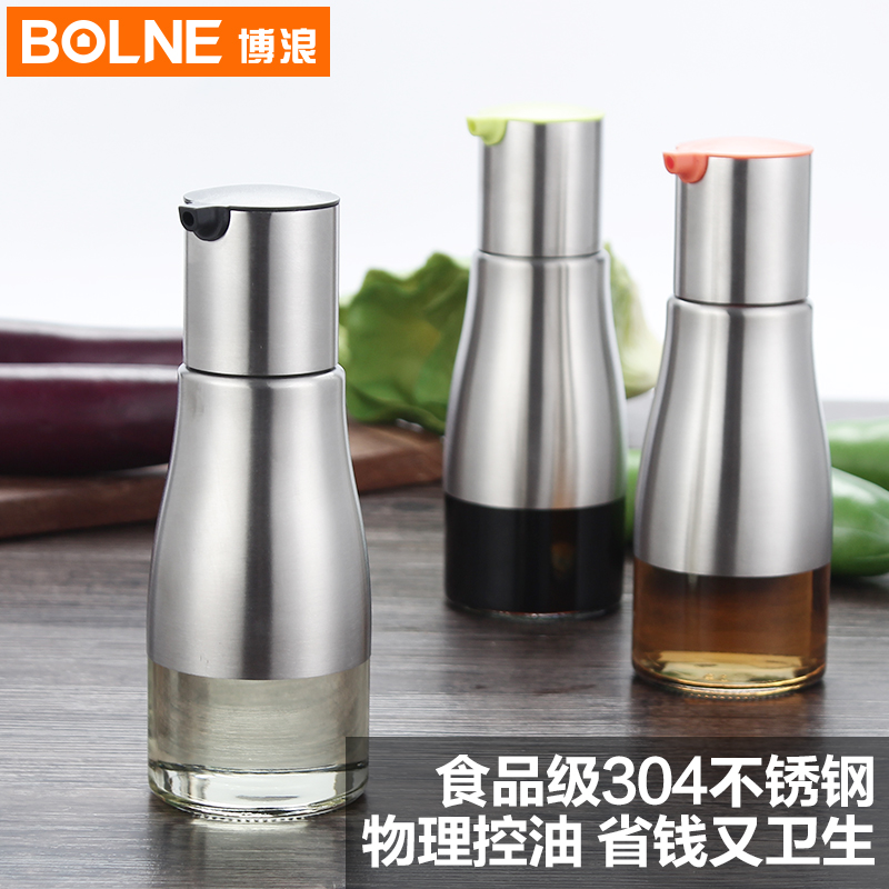 Germany bolne bo lang 304 stainless steel oiler leakproof glass oil vinegar soy sauce pot kitchen cruet suit