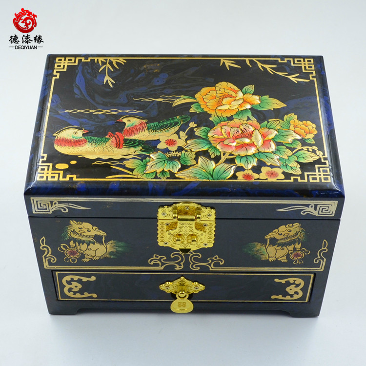 Germany edge pingyao push light lacquer jewelry box floating ducks swimming in the blue and white lacquer paint paint changed with drawers three Layer 21 cm
