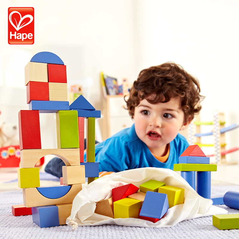 Germany hape blocks beech wood 50/100 100ç²1-2-year-old chunks of wooden building blocks children's educational toys baby
