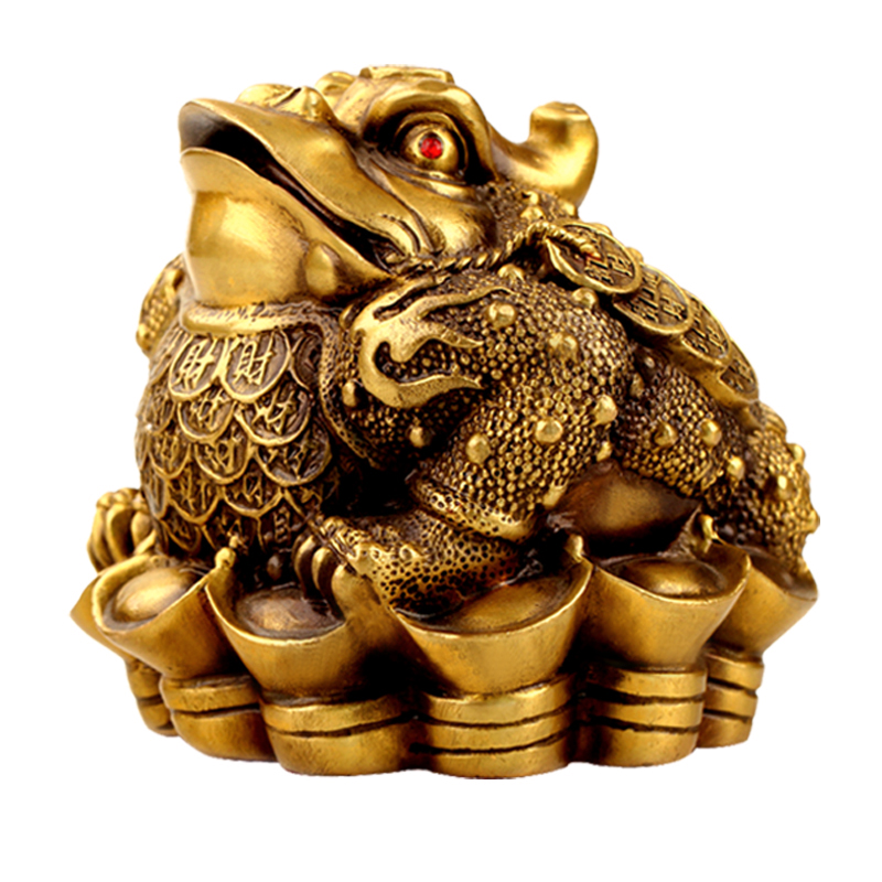 Germany opening wide margin three legged toad toad lucky ornaments home feng shui brass copper craft ornaments opening gifts