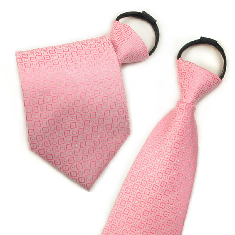Ginllary convenient zipper tie easy to pull men and women business tie pink tie
