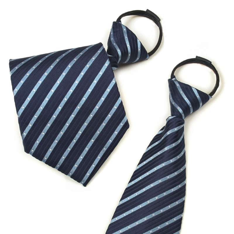 Ginllary men's formal wear business tie zipper tie easy to pull convenient tie blue striped tie