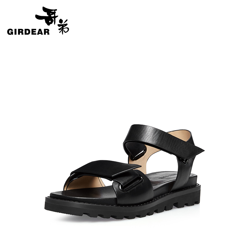 Girdear/gedi summer new leather flat sandals toe velcro shoes solid 910252