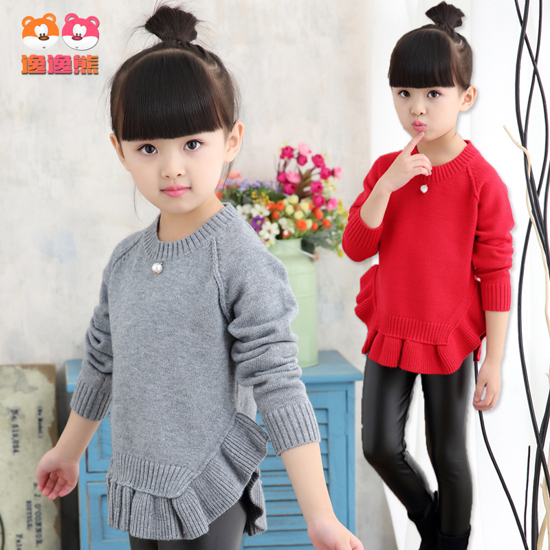 Girls hedging round neck lace sweater 2016 spring dongkuan children cotton sweater girls big boy sweater hundred towers