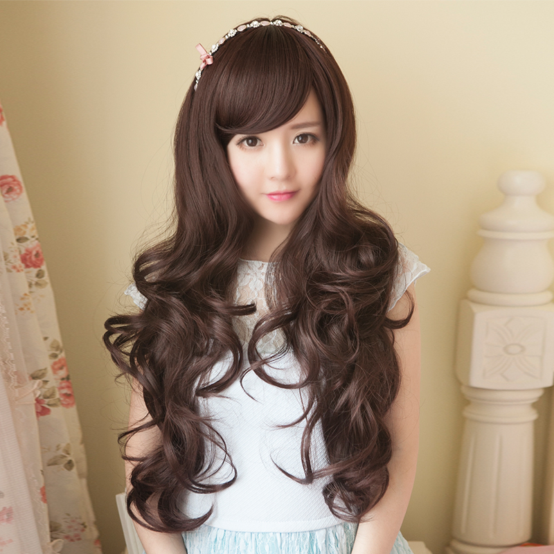 Girls long curly hair wig big wave wig female big wave scroll repair face long hair wig wig styling