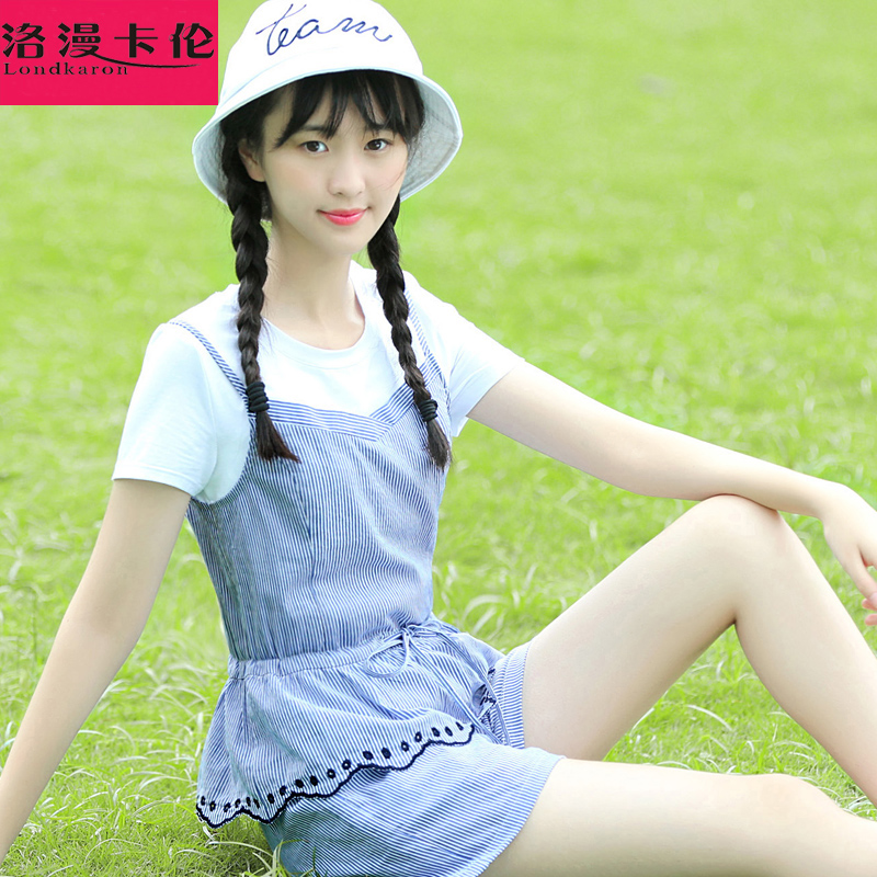 Girls summer leisure sports suit 2016 summer new junior high school students cute short pants cotton thin piece