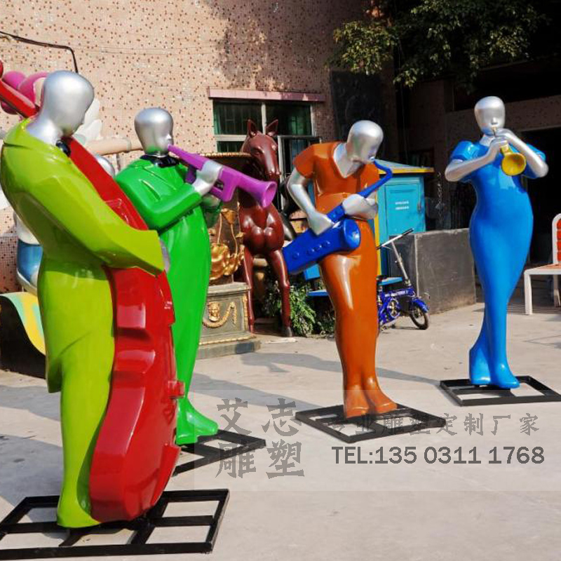 Glass and steel sculpture painted resin statue commercial pedestrian street music sculpture sculpture sculpture custom