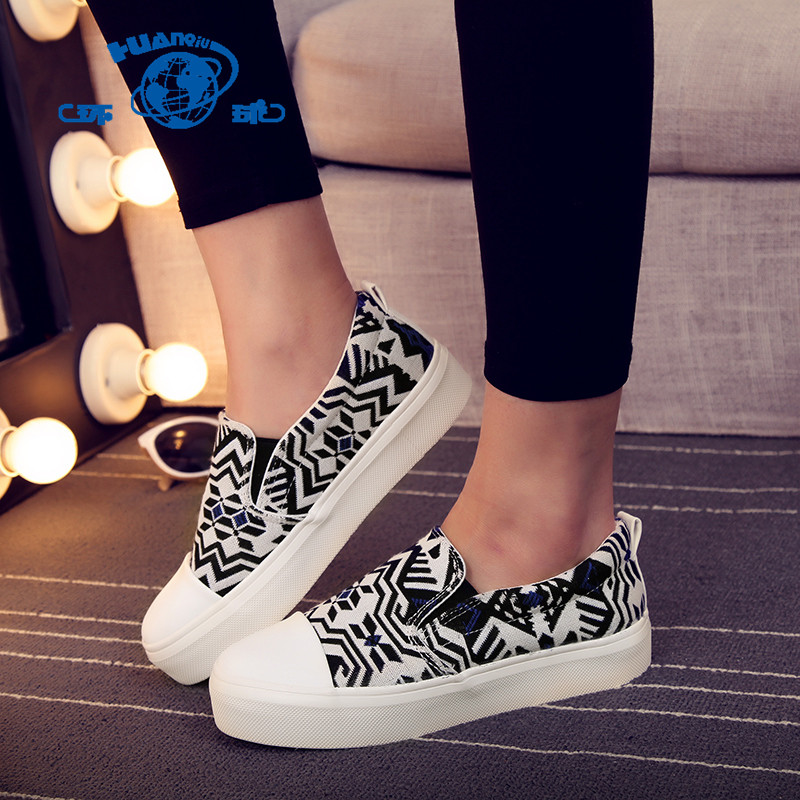 Global 2016 spring korean student shoes lazy thick crust muffin casual canvas shoes women shoes to help low female irregular