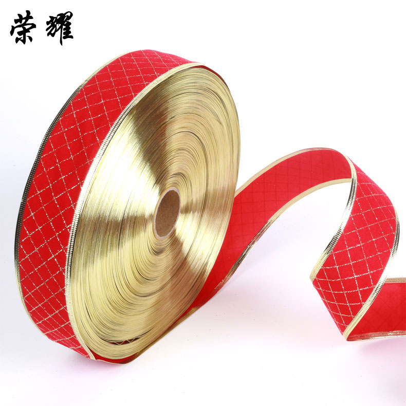 Glory 5 cm red plaid decorative color ribbon/ribbon christmas tree decorations christmas ornaments christmas supplies