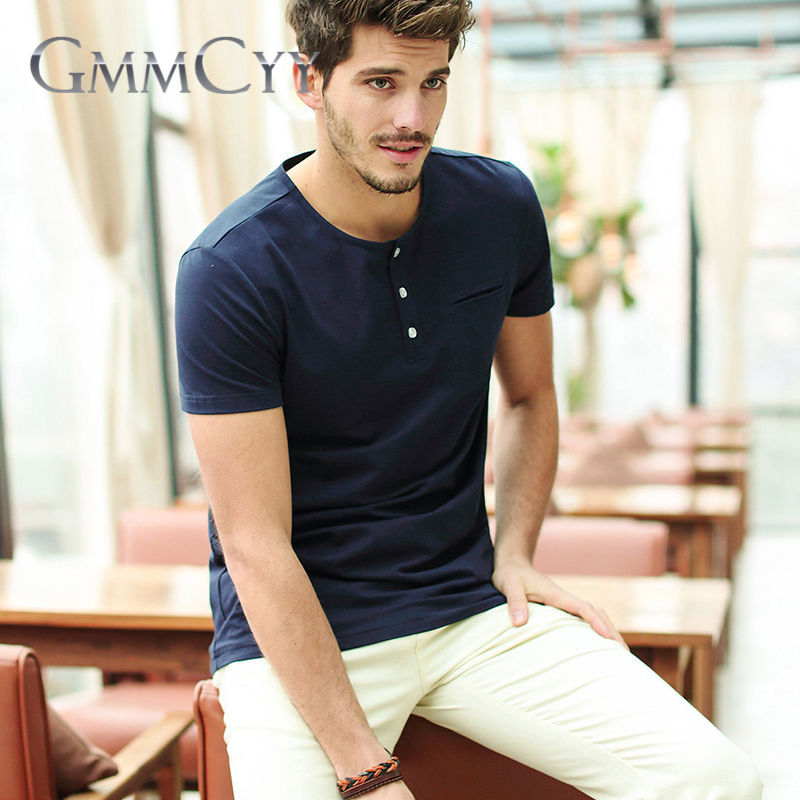 Gmmcyy europe and solid color simple v-neck t-shirt round neck short sleeve t-shirt 7873 summer new men's hugh
