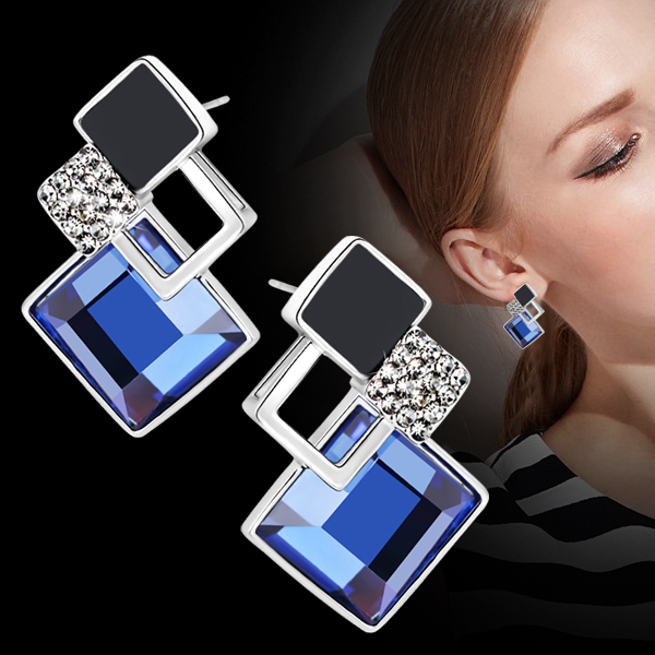 Gold charm earrings female temperament korean fashion wild diamond earrings big earrings 2016 new geometric blue