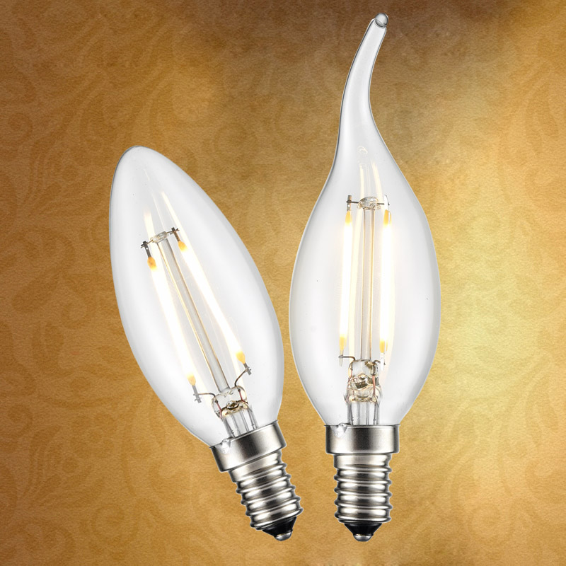 Gold led bulb tip candle bulbs energy saving light bulb candle pull tail light bulb edison light bulb e14 screw crystal lamp warm light