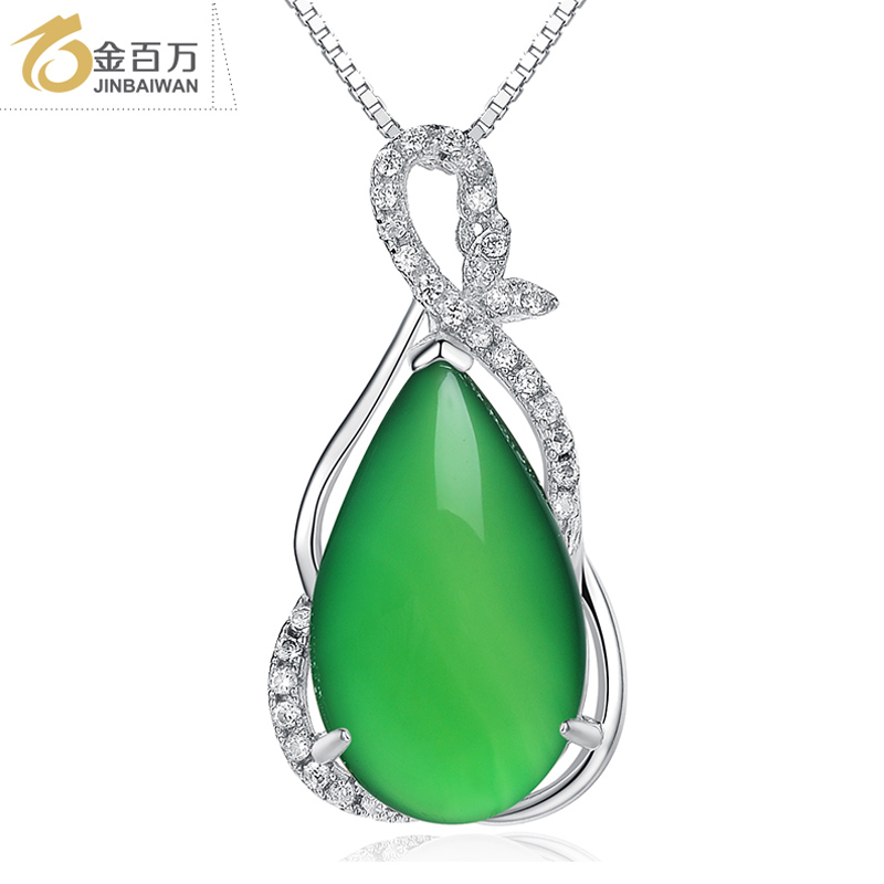 Gold one million accessorise natural agate chalcedony pendant female 925 silver necklace to send his girlfriend for christmas gifts