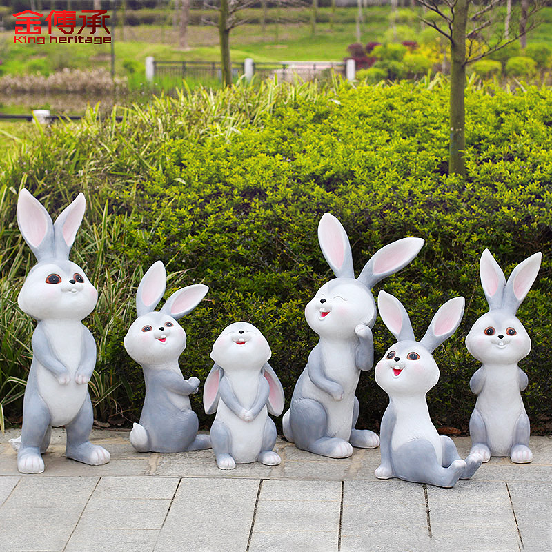Gold pass courtyard garden villa outdoor flower nursery decorations animal cartoon rabbit sculpture ornaments simulation