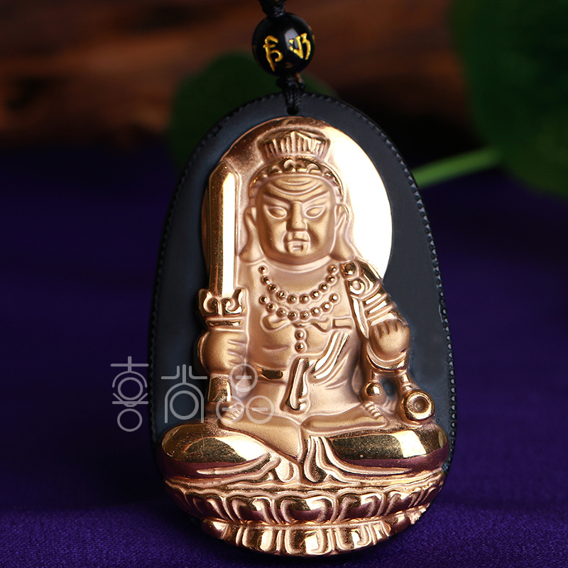 Gold-plated natural obsidian fudo patron saint pendant zodiac rooster natal buddha pendant pendant male and female models