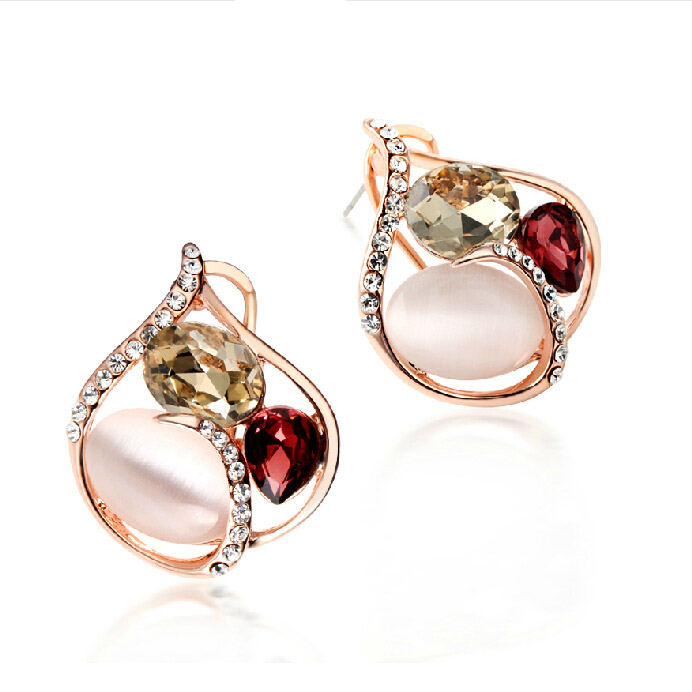 Gold rose gold plated charm decorative studs earrings exaggerated female korean fashion wild temperament ear jewelry