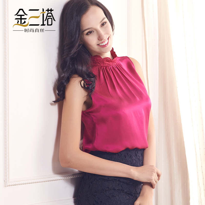 Gold three pagodas new spring and summer 100% women stretch crepe silk spandex lace flowers edge sleeveless collar shirt