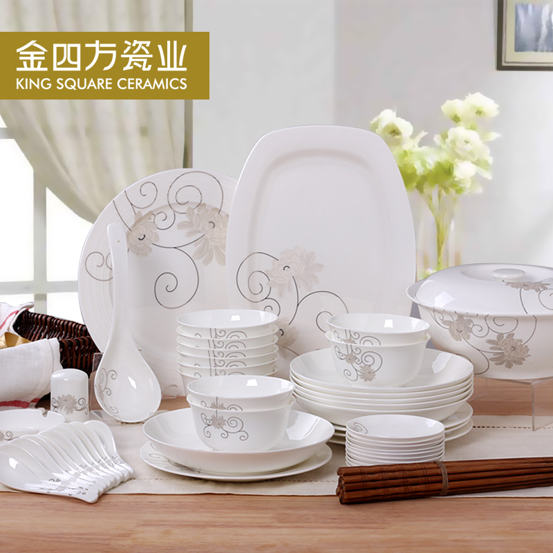Golden quartet household dishes chinese dishes 28/56 bone china tableware suit tangshan ceramic wedding porcelain