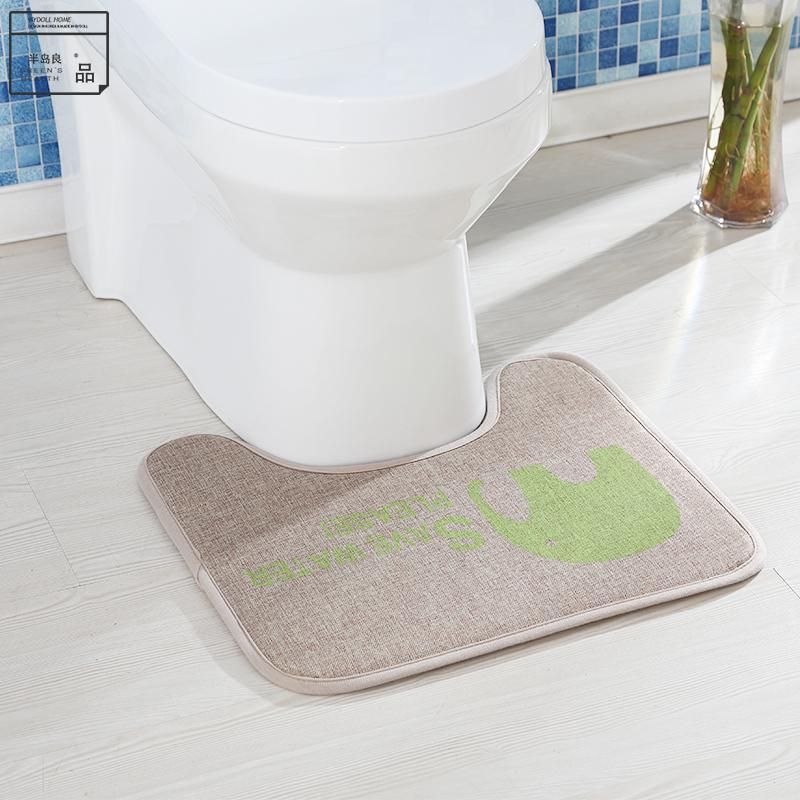 Good Peninsula U Type Toilet Mat Bathroom Door Slip Absorbent Mats Doormat