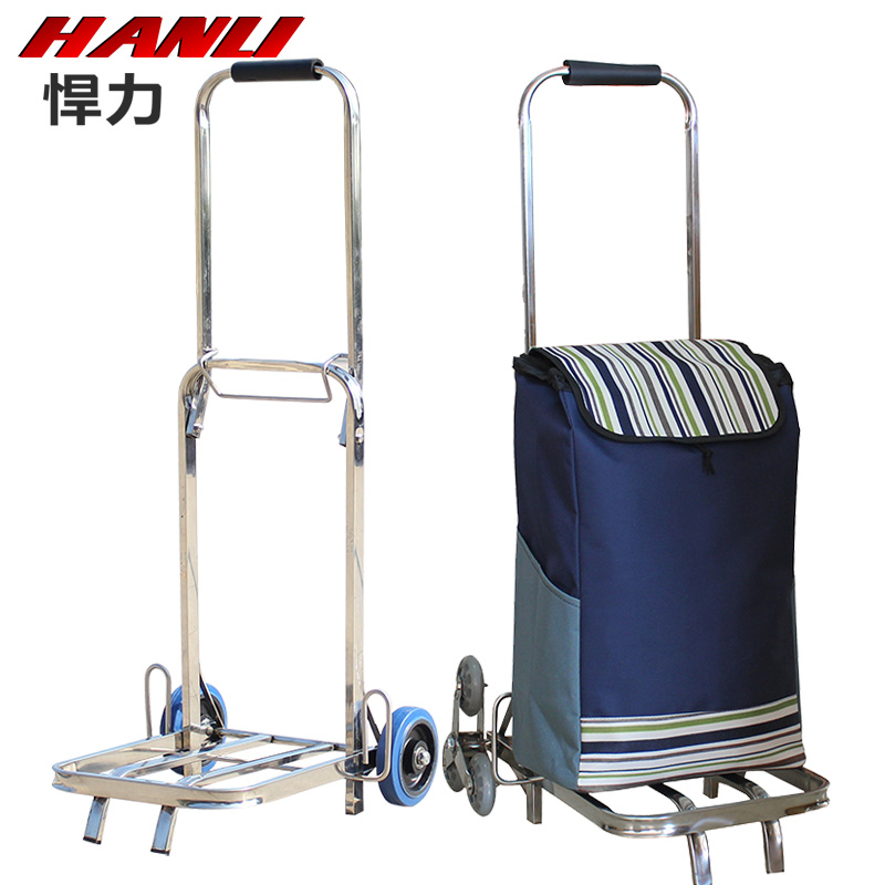 Good truck stainless steel six palou portable folding luggage cart shopping cart shopping cart riders pull a cart up the goods Shopping cart trolley car
