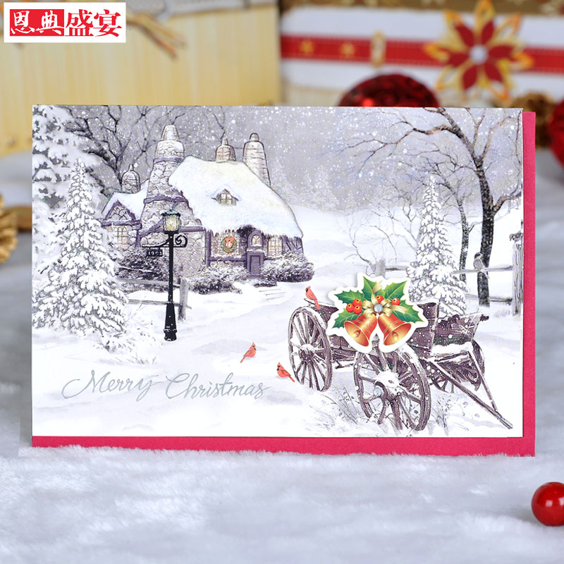 Grace feast of three-dimensional christmas cards christmas greeting card christmas greeting card stamping G703-03