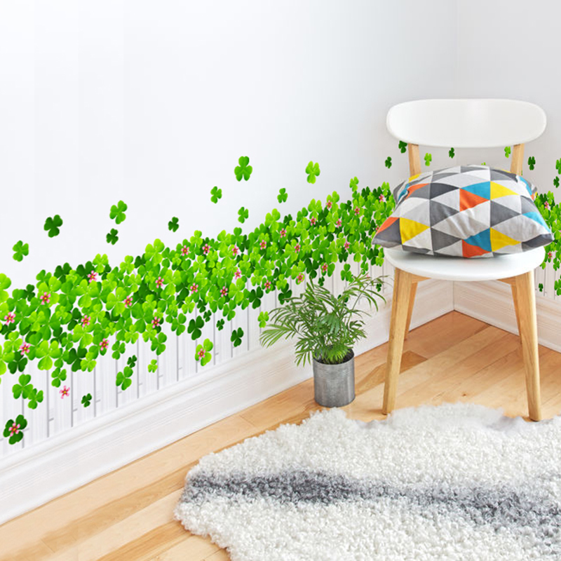 Grass green removable wall stickers waist baseboard wall stickers bedroom cozy living room backdrop stickers entrance hallway klimts