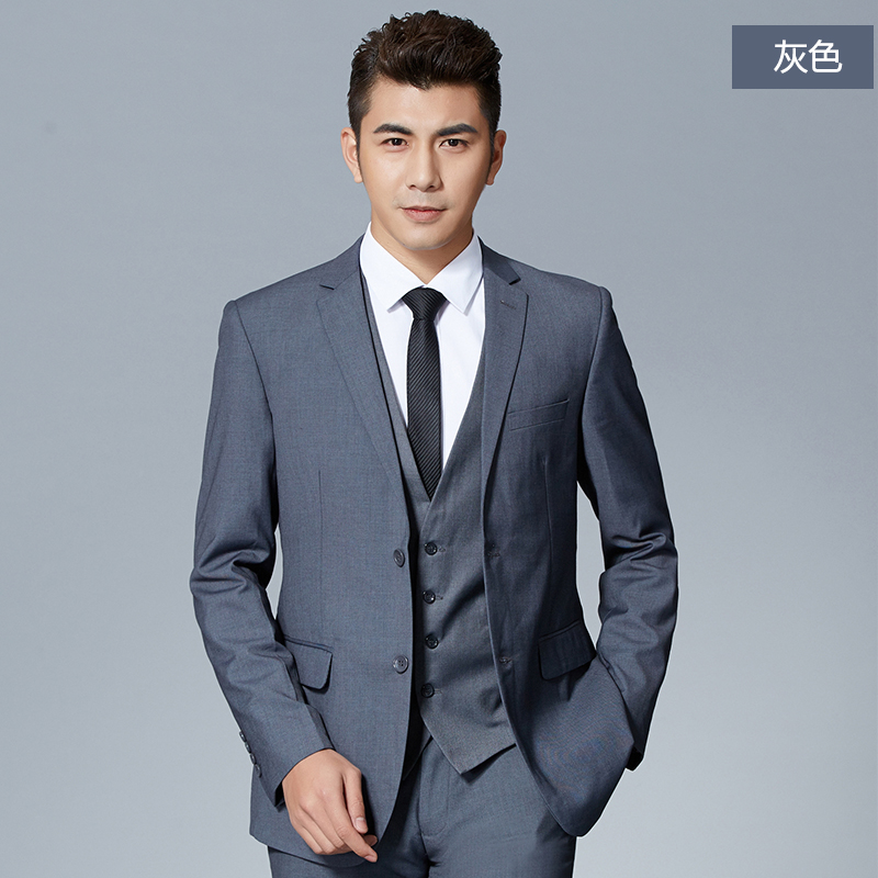 Gray men's business suits slim suits groom groomsmen wedding dress business suits to work occupation