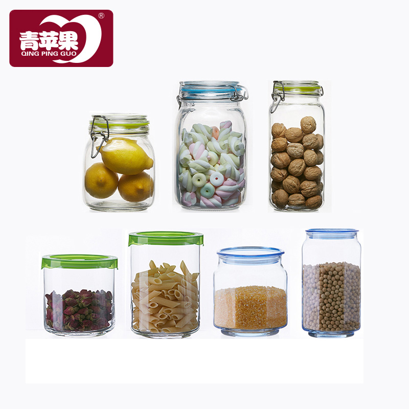 Green apple unleaded transparent glass bottles sealed cans glass snack cans cans of food grains storage tank storage tank dried fruit jar