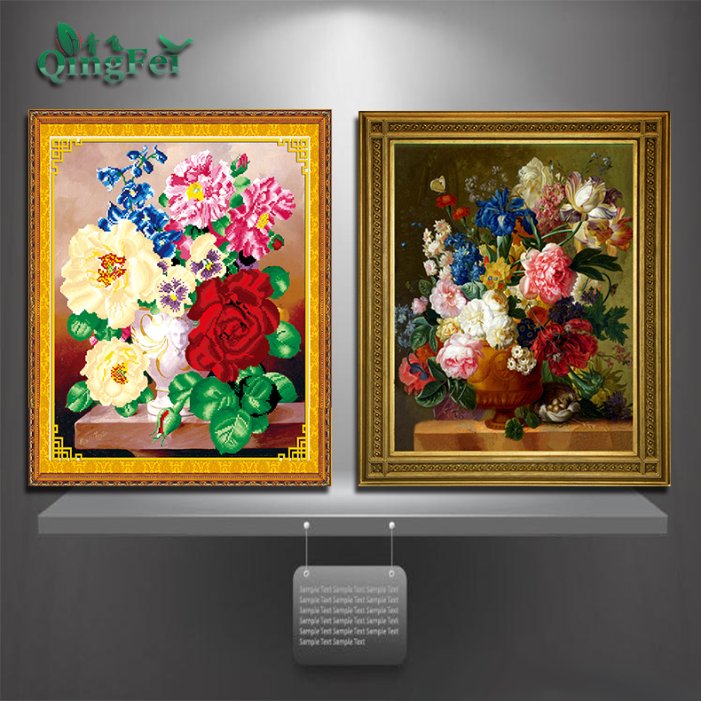 Green fly 3d stitch love hundred pro colorful world of beautiful bloom vase painting flowers restaurant kitchen shipping
