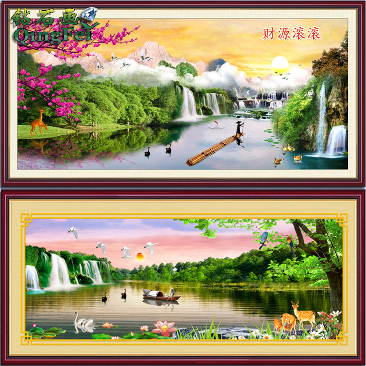 Green fly stitch extra cash fairyland caiyunhengtong diamond painting birds and flowers living room full of diamond drill square
