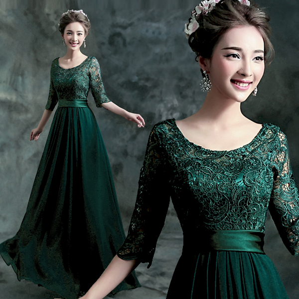 21e89fb9b879 Get Quotations · Green lace bridal dinner banquet annual meeting  performance dress wedding dress long sleeve 20 in 16