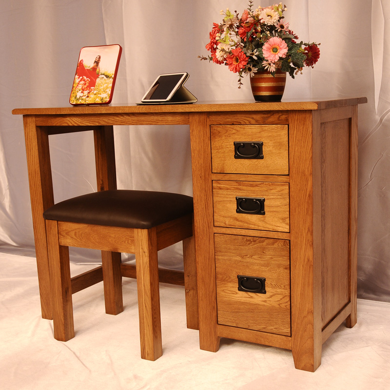 Green living love all solid wood + leather stool small desk wood study tables american style furniture white oak desk