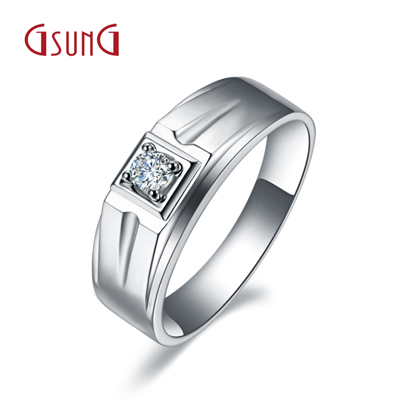 Gsung kyrgyzstan kyrgyzstan au750 jewelry 9 k white gold round diamond ring men's rings ring hot light gold custom